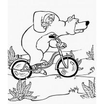 Coloriage Masha et Michka font du vélo