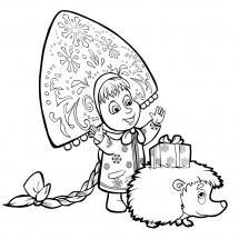 Coloriage Masha et un hérisson