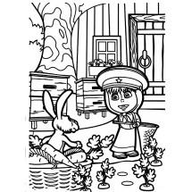 Coloriage Masha et le lièvre dans le jardin