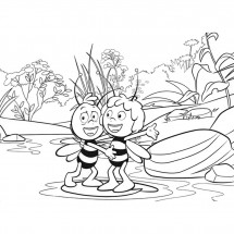Coloriage Maya et Willy dans l'eau
