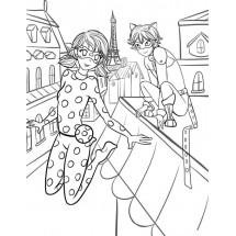 Coloriage Ladybug et Chat noir à Paris