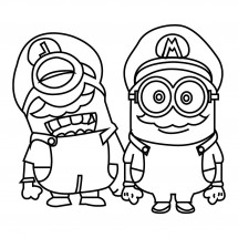 Coloriage Minions Mario et Luigi