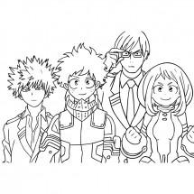 Coloriage Quelques héros du manga My Hero Academia