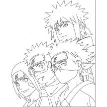 Coloriage Minato, Kakashi, Obito et Rin