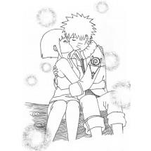Coloriage Hinata et Naruto s'embrassent