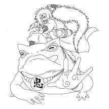 Coloriage Jiraya sur sa grenouille