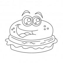 Coloriage Hamburger rigolo