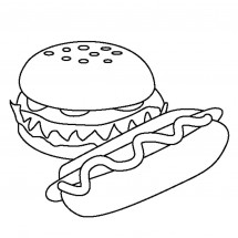 Coloriage Hamburger et Hot-dog