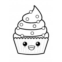 Coloriage Cupcake Kawaii
