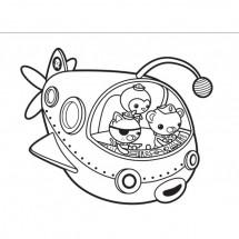 Coloriage L'équipe dans le sous-marin