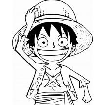 Coloriage Luffy et son chapeau