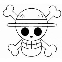 Coloriage Drapeau pirate de Luffy
