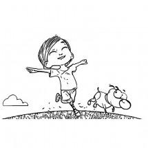 Coloriage Paf et Lola dans un champ