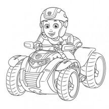 Coloriage Ryder sur sa moto