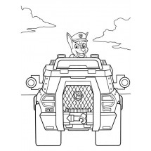 Coloriage Chase dans sa voiture