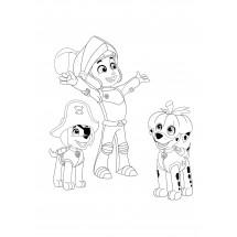 Coloriage Zuma, Ryder et Marcus fêtent Halloween