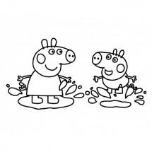 Coloriage Peppa et George sautent dans la boue