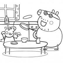 Coloriage Papa Pig et George font des crêpes