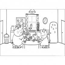 Coloriage La famille Pig déjeune