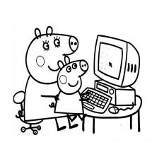 Coloriage Maman Pig et George