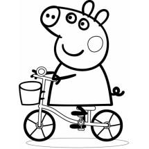 Coloriage Peppa fait du vélo