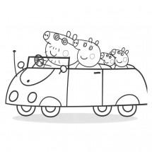 Coloriage Peppa et sa famille en voiture