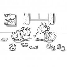 Coloriage Peppa et George dans leur chambre