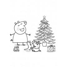 Coloriage Peppa et George fêtent noël