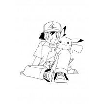 Coloriage Sacha et Pikachu