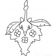 Coloriage Pokémon Cheniselle cape Plante