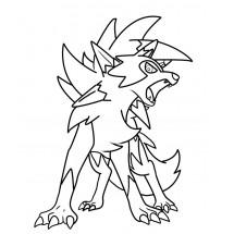 Coloriage Pokémon Lougaroc forme Crépusculaire
