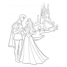Coloriage Aurore et son prince