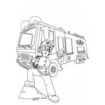 Coloriage Sam devant son camion de pompier