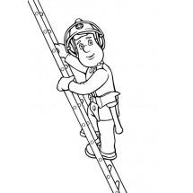 Coloriage Sam le pompier sur son échelle