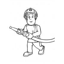 Coloriage Sam et sa lance à incendie