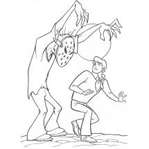 Coloriage Fred et un monstre