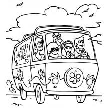 Coloriage Toute l'équipe dans le bus