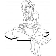 Coloriage Sirène avec une fleur