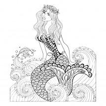 Coloriage Sirène sur une vague