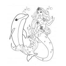 Coloriage Sirène et un dauphin