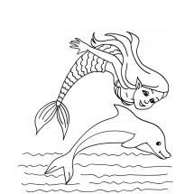 Coloriage Sirène et un dauphin #2