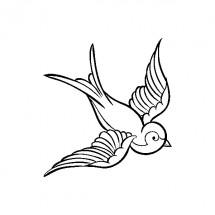 Coloriage Tatouage Hirondelle