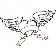 Coloriage Tatouage coeur avec des ailes