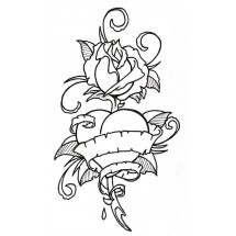 Coloriage Tatouage rose #2