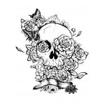 Coloriage Tatouage crâne et roses