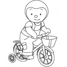 Coloriage T'choupi fait du vélo