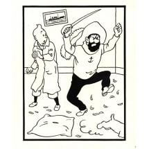 Coloriage Tintin et le capitaine Haddock