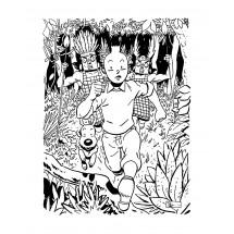 Coloriage Tintin et Milou poursuivis
