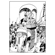 Coloriage Tintin sur un éléphant
