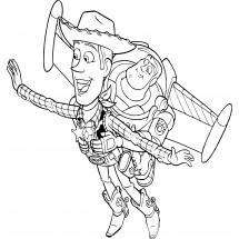 Coloriage Buzz l'éclair et Woody s'envolent